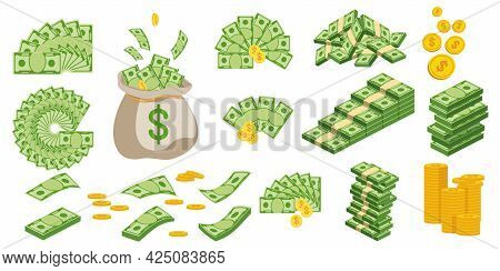 Huge Packs Of Paper Money. Bundle With Cash Bills.