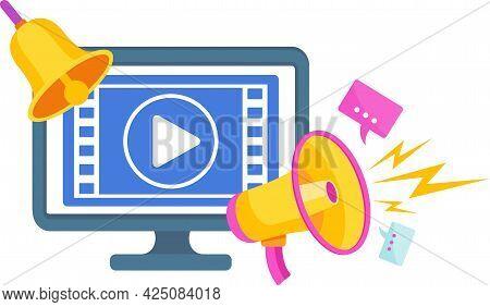 Online Cinema Icon. Digital Marketing. Mobile Adds. Flat Vector Illustration.