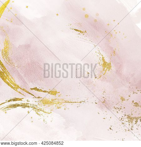 Pink Gold Background Glamorous Dusty Pastel Pink Abstract Painted Texture Surface, Digital Paper
