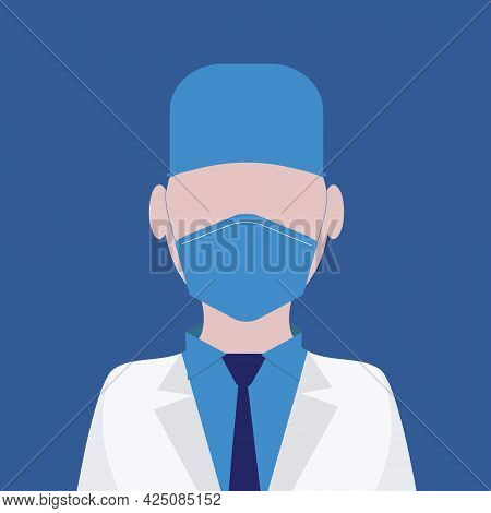 Doctor Dressed In A Mask, Cap, And Dressing Gown With A Shirt And Tie On A Blue Background. Vector I