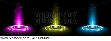 Color Hologram Portal. Magic Fantasy Portal. Magic Circle Teleport Podium With Hologram Effect. Vect