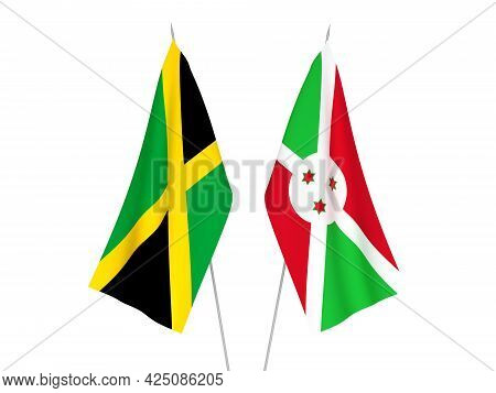 National Fabric Flags Of Jamaica And Burundi Isolated On White Background. 3d Rendering Illustration