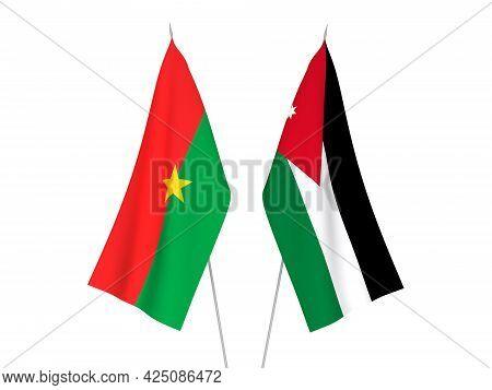 National Fabric Flags Of Burkina Faso And Hashemite Kingdom Of Jordan Isolated On White Background.