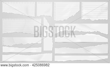 Ripped Pages. Shapes Torn Paper, Elegant Headline Strip. Isolated Gray Page Sheets. Line Notebook, R