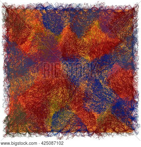 Square Carpet, Mat, Rug, Tapestry With Grunge Weave Colorful Geometric Abstract Elements And Decorat