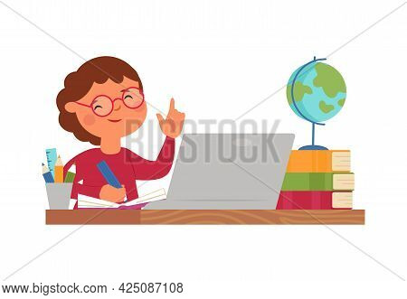 Online Education. School Work, Boy Learn Computer Or Studying In Internet. Young Student At Laptop.