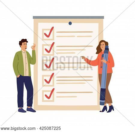 Checklist Concept. Successful Workers, Business People Start Up Task Board. Tasks Ready, Smart Time