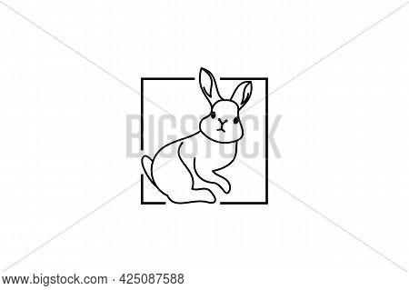 Rabbit Logo Isolated On White Background. Rabbit Icon Thin Line Outline Linear Rabbit Symbol For Log