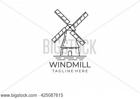 Windmill Logo Isolated On White Background. Windmill Icon Thin Line Outline Linear Windmill Symbol F