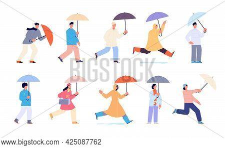 People With Umbrella. Autumn Rain Umbrellas, Woman Walking Rainy Day. Person In Yellow Raincoat, Iso