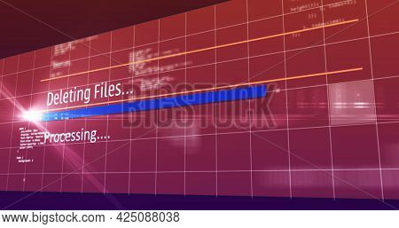 Image of deleting files text digital interface flickering on screen. global connections, data processing, computing and digital interface concept digitally generated image.