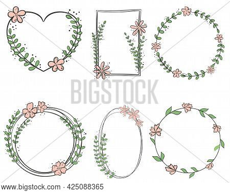 Set Of Botanical Frames, Vector Hand-drawn Graphics. Rim With Flowers And Leaves Of Different Shapes