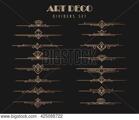 Art Deco Dividers. Victorian Gold Line Divider Collection, Vector Privacy Interiors 1920s Artful Des