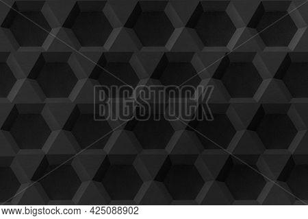 Black hexagon paper craft hexagon patterned background