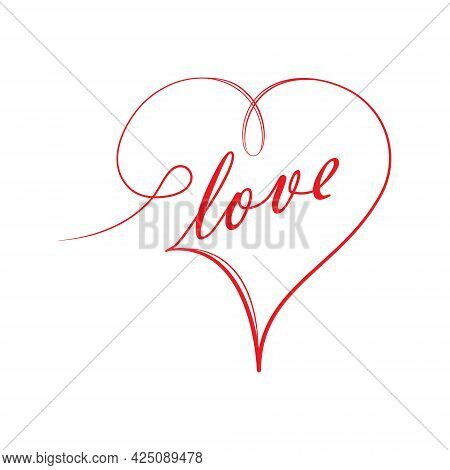 Stylized Calligraphic Inscription Love With A Heart In One Solid Line On A White Background, For Gre