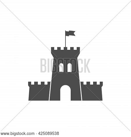 Fortress Icon. The Fortress Tower And The Flag Is Flying In The Wind. Simple Style