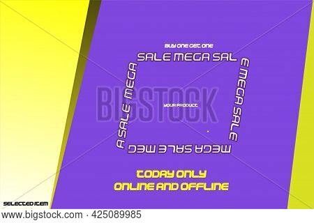 Banner Sale Design And Special Offers In Purple And Yellow With Italics, Vector Illustration Eps