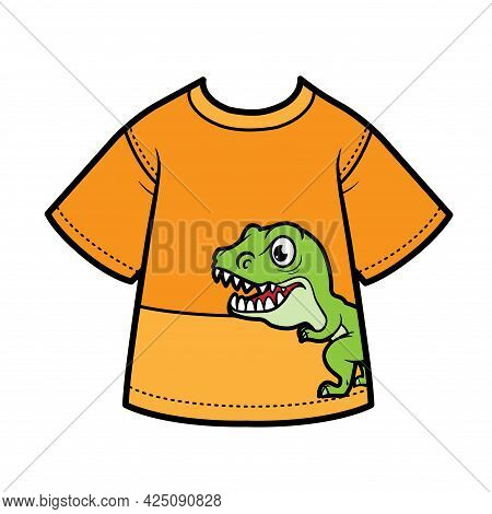T-shirt With Drawing Tyrannosaurus For Boy Color Variation For Coloring On A White Background