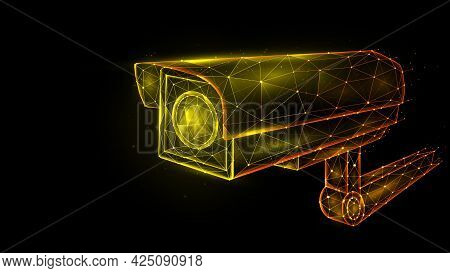 Vector Polygonal Illustration Of Security Camera, Cctv Camera, Video Surveillance System.