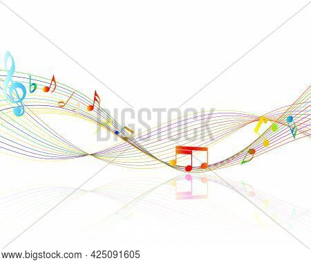 Musical Design From Musical Notes Elements. Shadow Is Transparent And Can Applied On Any Color Backg