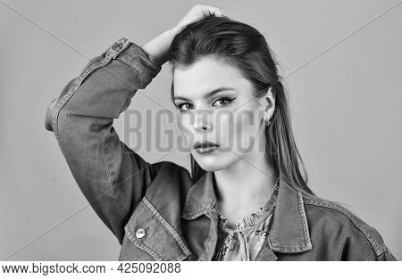 Hairstyle And Makeup. Woman Confident Face With Makeup. Elegant Makeup Concept. Glamorous Lady Close