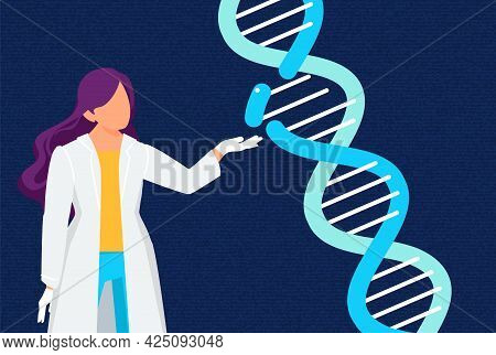 Research Lab Concept. Dna Laboratory, Female Genetic Scientist. Doctor And Genome, Biochemical Analy