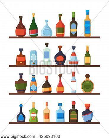 Bottles On Shelves. Alcoholic Drinks Vodka Liquor Rum Wine Tequila Restaurant Or Bar Liquid Products