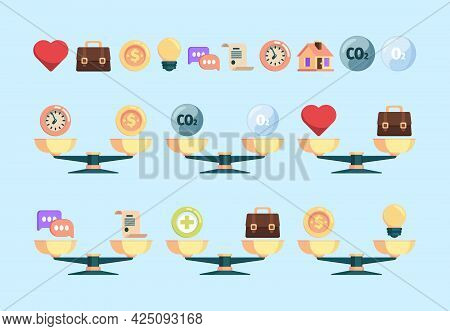 Scales Concept Pictures. Business Comparison Money And Friendship Time Scaling Value Budget Ideas Mi