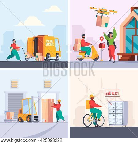 Letter Delivery. Post Office Mailboxes And Delivery Services Stuff Postman Professional Workers Gari