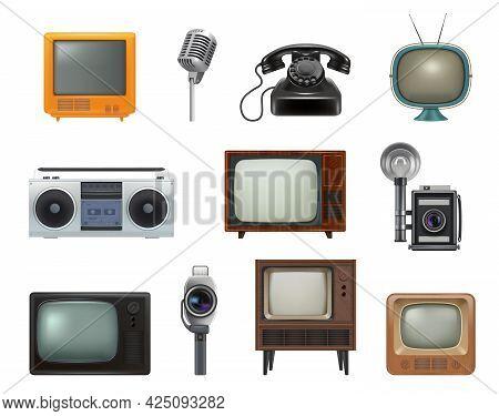 Old Style Technics. 80s Retro Household Gadgets Stationary Items Tv Set Typewriting Machines Telepho