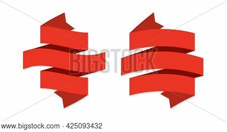 Ribbon Banner. Two Red Ribbons. Geometric Festive Wavy Blank Tapes, Empty Satin Decorative Labels An