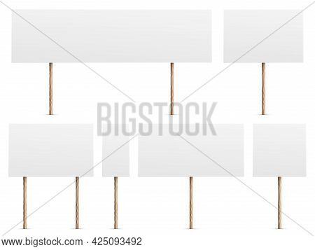 Protest Banners. Realistic White Placards For Demonstrations. 3d Blank Boards On Wooden Sticks Set.