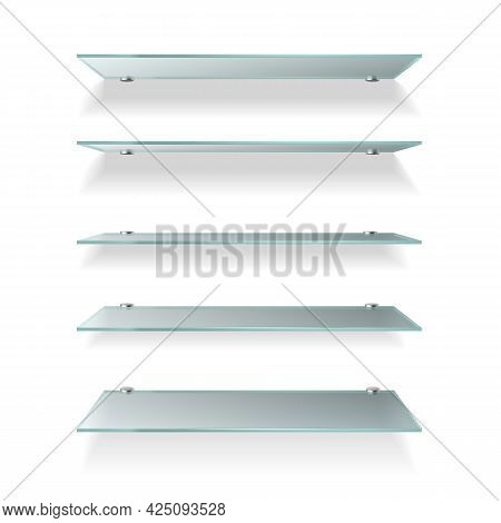 Shelves Glass. Wall Product Display Transparent, Empty Store Shelving. Glass Showcase Various Angle