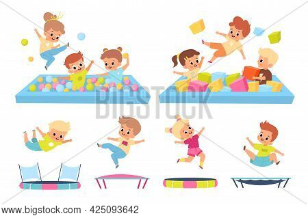 Kids In Soft Pool. Children Jump On Trampolines. Boys And Girls In Playroom. Babies Have Fun On Play