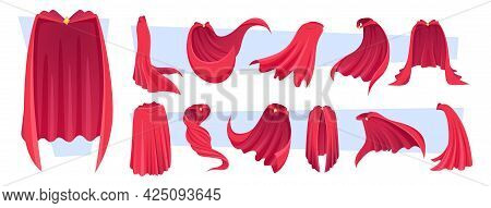 Hero Cape. Red Clothes Textile Stuff For Superheroes Textile Suits Exact Vector Cartoon Templates Co