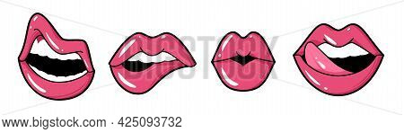Playful Lips. Female Mouth Tongue And Teeth, Bright Pink Lipstick Or Gloss, Beautiful Makeup, Sexy G