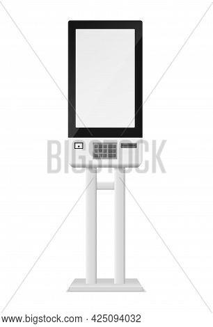 Self-ordering Kiosk And Atm. Realistic Cash Dispenser. 3d Banking Equipment For Financial Transactio