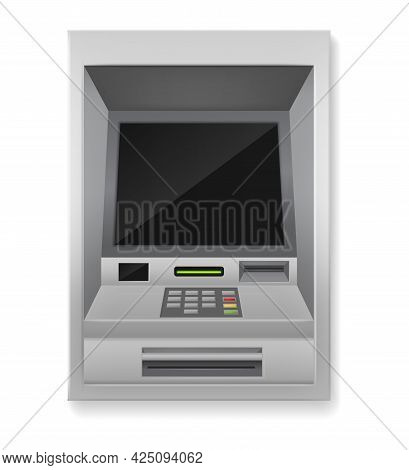 Atm. Realistic Payment Machine. 3d Banking Terminal. Automated Electronic Equipment For Financial Tr