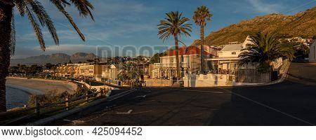 Gordons Bay, South Africa - April 12, 2021: Panoramic Sunset View Of  Gordons Bay In The Western Cap