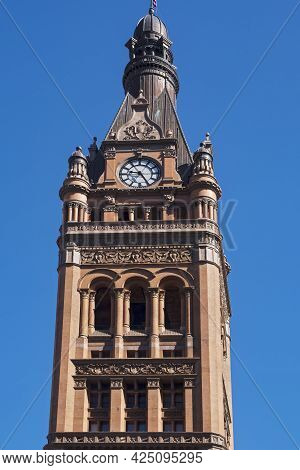 Bell Tower Cupola And Clock Of Landmark City Hall Building In Milwaukee Wisconsin