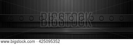 Dark Hi-tech Banner With Different Textures. Black Textured Background And Steel Boards