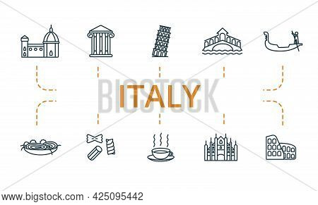 Italy Icon Set. Contains Editable Icons Italy Theme Such As Pisa, Gondola, Cappuccino And More