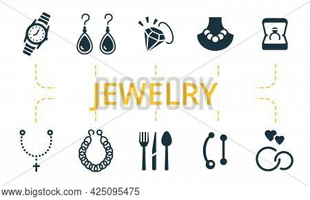 Jewelery Icon Set. Contains Editable Icons Theme Such As Pearl Necklace, Drop Earrings, Religious Je