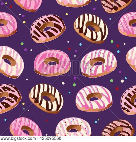 Donuts Seamless Pattern In Pink And Chocolate Glaze. Dessert Food Illustration. National Donut Day.