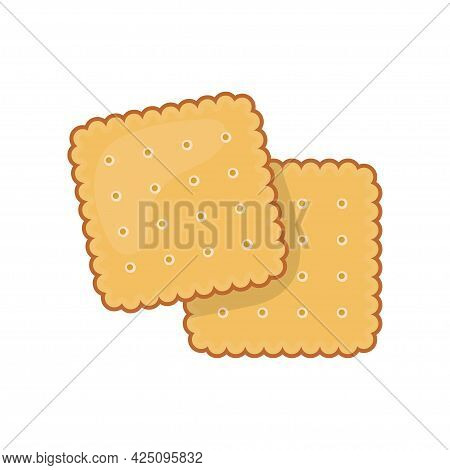 Two Delicious Biscuit. Yummy Crackers, Isolated On White Background. Top View Biscuit Cookie. Vector