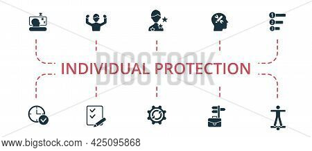 Individual Protection Icon Set. Contains Editable Icons Theme Such As Traffic Safety, Survival Ring