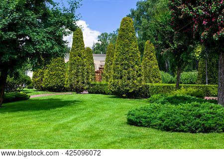 A Park With Evergreen Shorn Thujas And Hedges Among The Deciduous Trees Of The Garden And A Lawn On