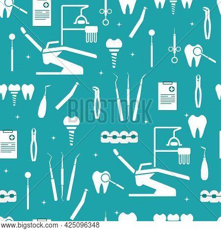 Dental Equipment. Dental Chair, Examination Form, Instruments For Examination, Treatment, Prosthetic