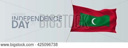 Maldives Independence Day Vector Banner, Greeting Card