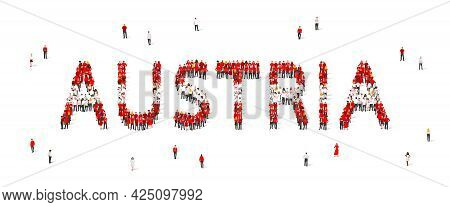 A Crowd Of People Are Standing In White And Red Robes, Making Up The Word Austria. Austria Flag Made